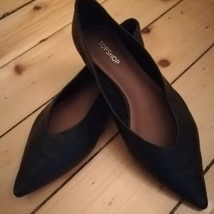Topshop Attitude Pointy Toe Flat (leather)